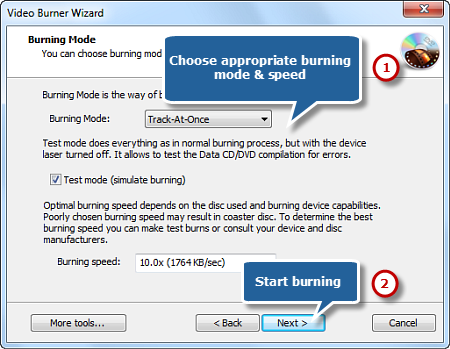 Select Burning Mode and Start Burning