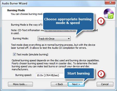 Select Burning Mode/Speed and Start CD Burning
