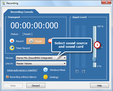 Choose Sound Source and Sound Card