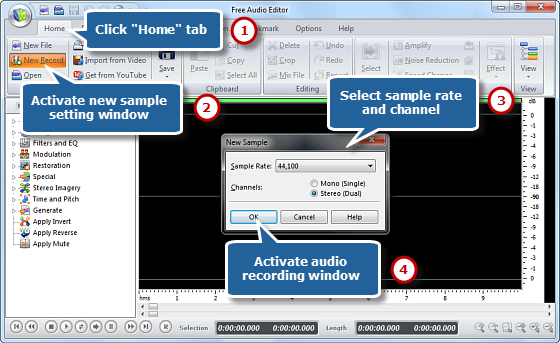 Launch the program's audio recorder